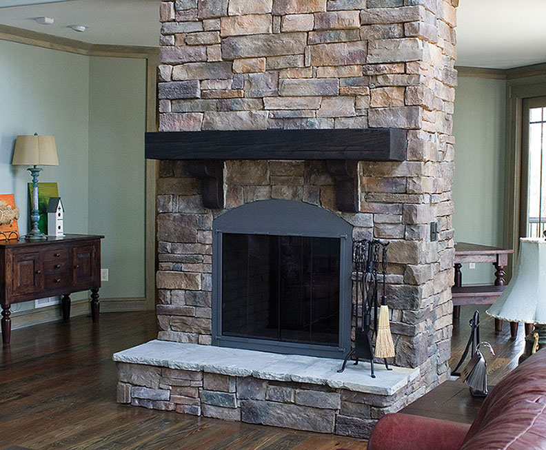 Manufactured stone weather ledge for Stonecraft fireplaces
